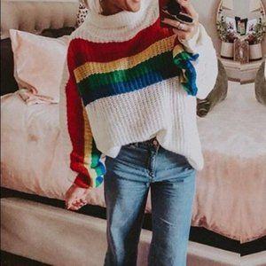 Fantastic Fawn Rainbow Turtleneck Sweater Large